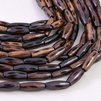 Cowbone  Beads, Carved Tubes,  18x12mm,  22pc, 15 inch Strand, Brown Bone Beads, 2mm Hole -BN151