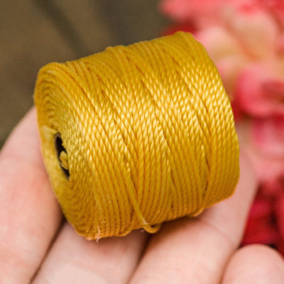 Gold  S lon Bead Cord, Nylon Cord, .9mm, 35 Yard Spool, Necklace Cord,   Tex 400 -MC8