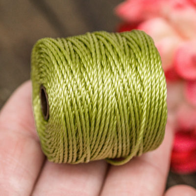 Lime Green Nylon  Slon   Cord, .9mm, 35 Yard Spool, Nylon, Mala Cord, 3ply Macrame Cord,   Tex 400 -MC3