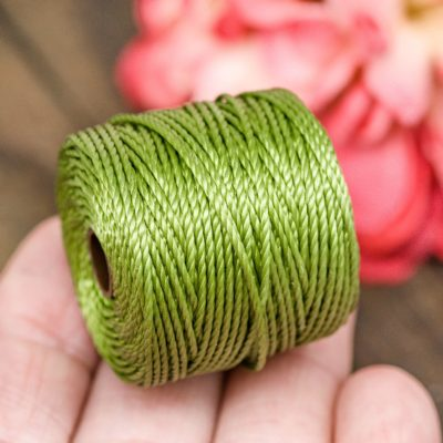 Nylon  S-lon Jewelry Cord, .9mm, 35 Yard Spool, Nylon Cord, Mala Cord, 3ply Macrame Cord,  Green  Tex 400 -MC14
