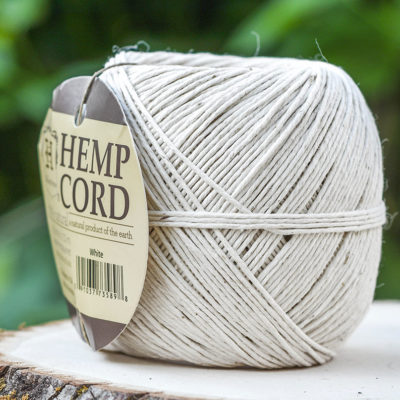 White Hemp Cord, 1mm,  400 Feet, White Twine, Macrame Cord -T94