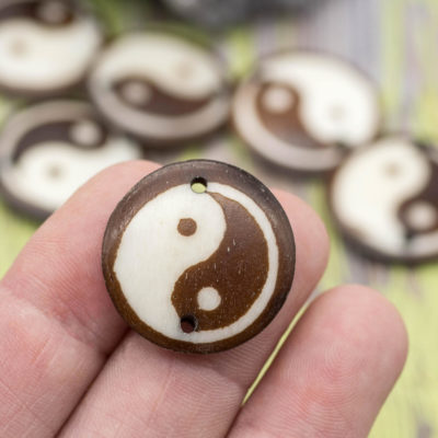 Ying Yang Pendants, Cowbone Beads, 25mm,   5pcs, Carved  Bone  Pendant,  Ying Yang Beads, Connectors -Bn139
