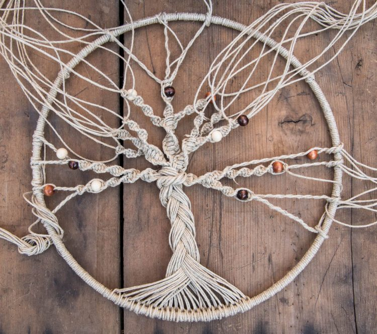 hemp tree of life wall hanging, macrame ideas