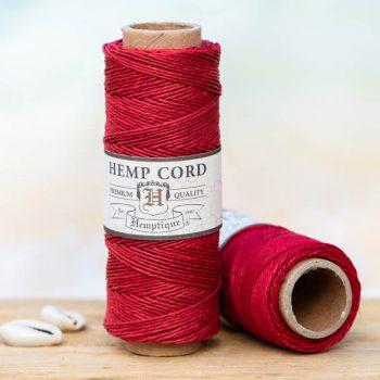 Red hemp bead cord, 0.5mm, 205 feet spool, thin hemp cord can be used for small hole beads, crafts - card making, scrapbooking,  and making micro macrame hemp jewelry.