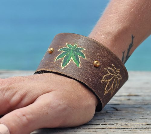hemp leaf leather cuff bracelet