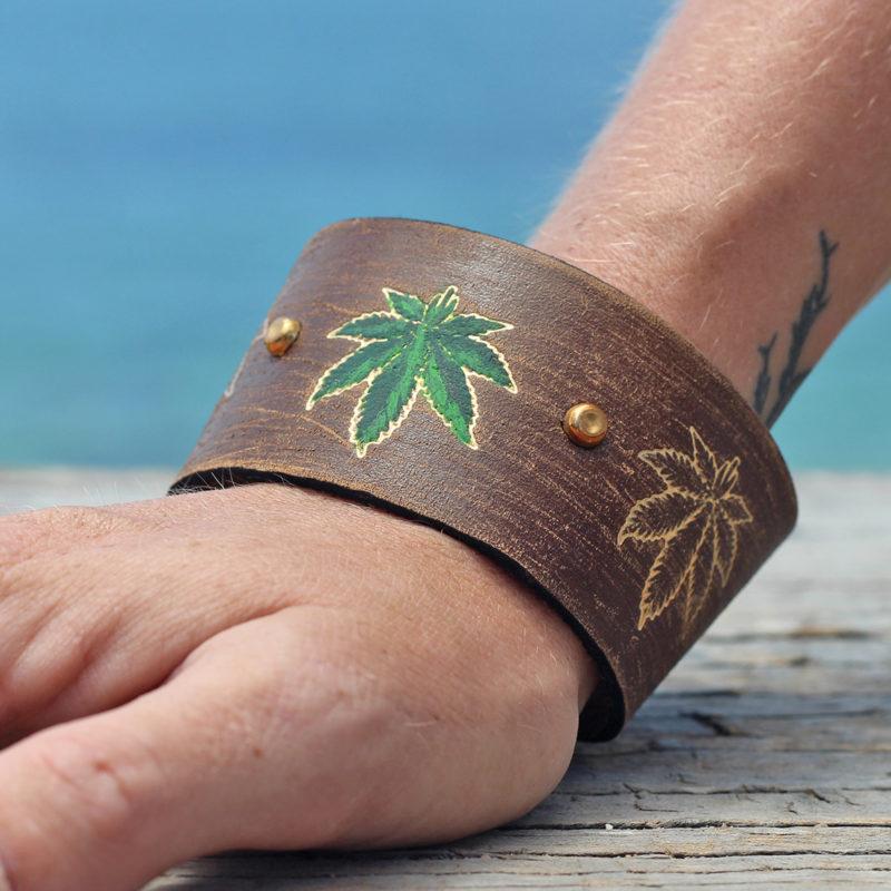 hemp leaf leather cuff bracelet