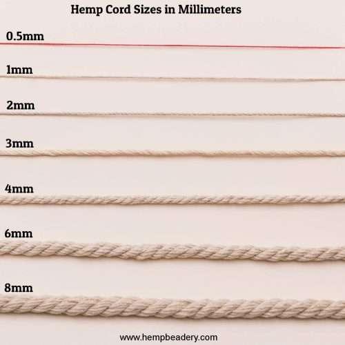 hemp cord size chart