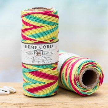 Rasta hemp twine  1mm, 205 feet spool for  making macrame hemp jewelry, scrapbooking and crafts.