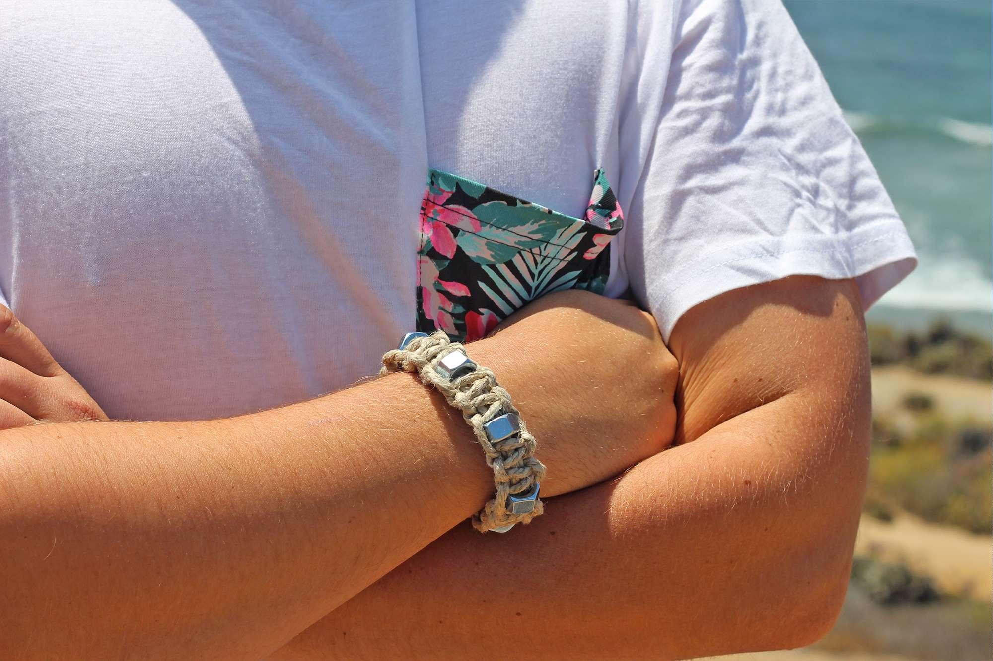 Natural Hemp Bracelet Industrial Washers Mens Hemp Jewelry Hemp