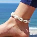 hemp cowrie shell anklet