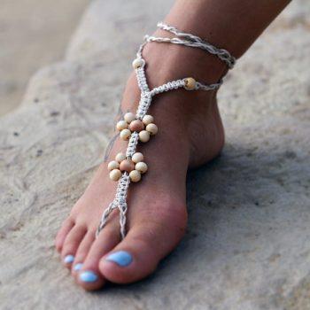 Macrame Foot Sandals, 1 pair, Foot Jewelry, Beach Sandals, Hemp Barefoot Sandals