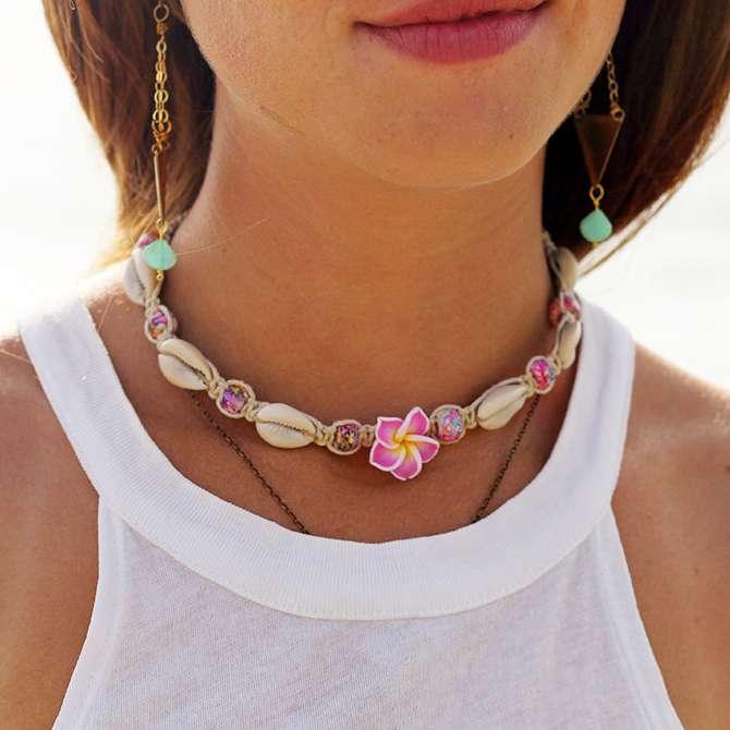 hawaii flower necklace, hemp choker