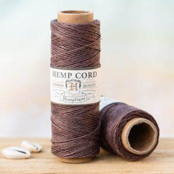 Dark brown hemp cord, o.5mm, 205 feet spool, thin hemp cord can be used for small hole beads, crafts - card making, scrapbooking,  and making micro macrame hemp jewelry.