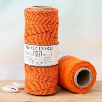 orange hemp cord 1mm, hemptique brand