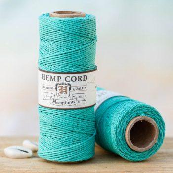 teal hemp cord 1mm, macrame supply