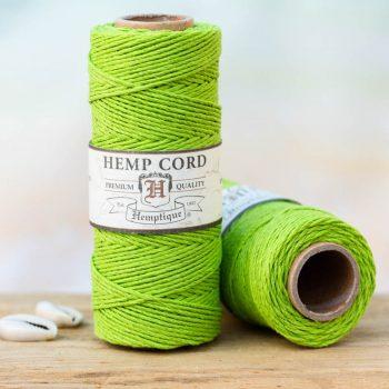 lime green hemp cord 1mm