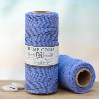 French blue hemp string 1mm, 205 feet spool for making macrame hemp jewelry, crochet, card making and crafts.