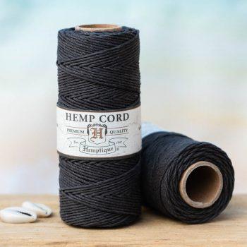 black hemp cord 1mm, hemptique brand