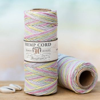 baby pastel hemp cord 1mm, macrame twine, bead cord