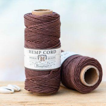 dark brown hemp cord, 1mm, 205 feet spool for making macrame hemp jewelry, scrapbooking and crafts.