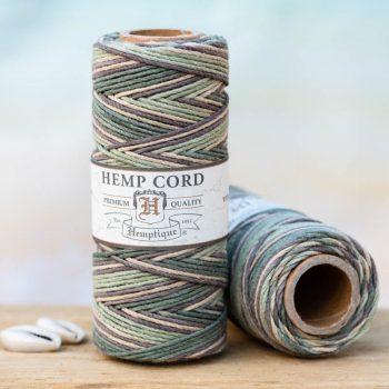 Camo hemp cord, 1mm, 205 feet spool for making macrame hemp jewelry, scrapbooking and crafts.