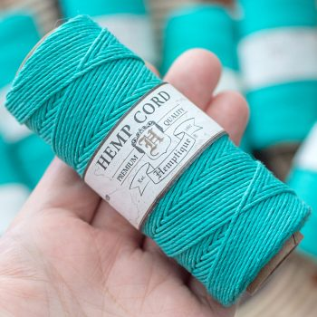 teal macrame cord, hemp twine, colored hemp cord 1mm