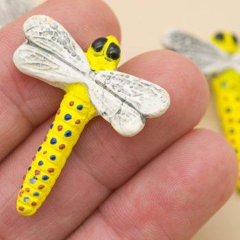 painted raku clay dragonfly