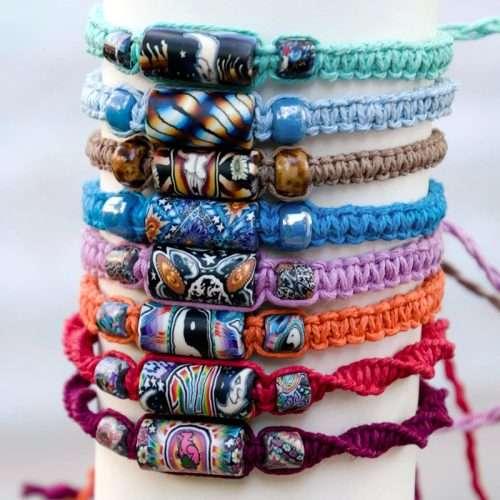 hemp bracelets with fimo beads