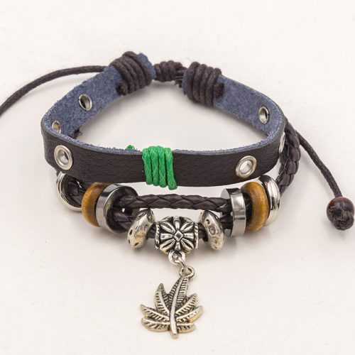 pot leaf leather bracelet