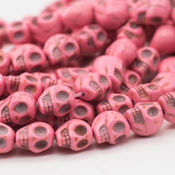 Sugar Skull Beads, 12x10mm, 28pc Strand,  Pink Howlite Skulls, Gemstone  Skull Beads, Howlite Stone -B2007