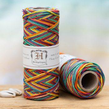 Rainbow hemp cord, 1mm, 205 feet spool for making macrame hemp jewelry, scrapbooking and crafts.