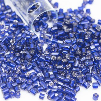 Glass Tube Seed Beads,   1 Tube, Czech Seed Beads, Blue, 2x2mm -B2188