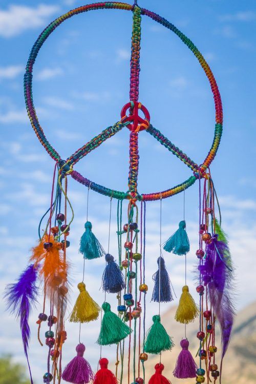 rainbow hemp dreamcatcher
