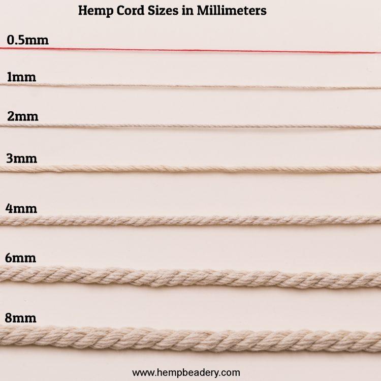 hemp cord sizes