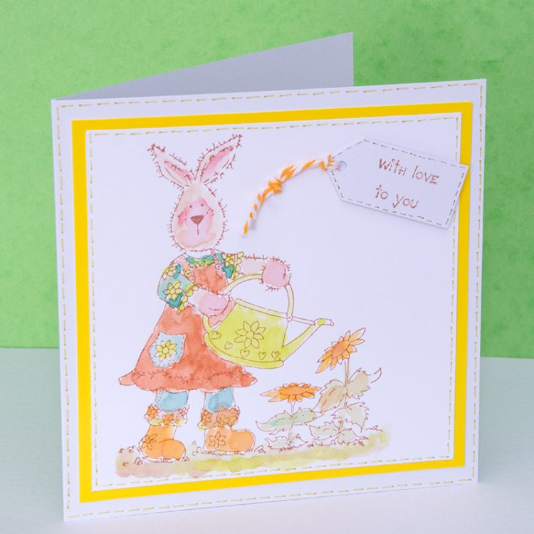 handmade rabbit card, bakers twine