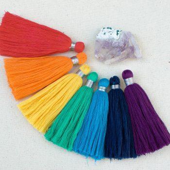 7 Chakra Tassels, Cotton Tassels, 7pcs, 4 Inch  Tassels, Long  Tassels, Silver Thread    -TA2