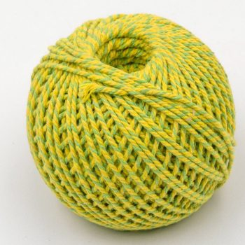 Cotton Bakers Twine, Yellow and Green,  2mm, 328 Feet, Packaging Twine, Gift Wrap -T89