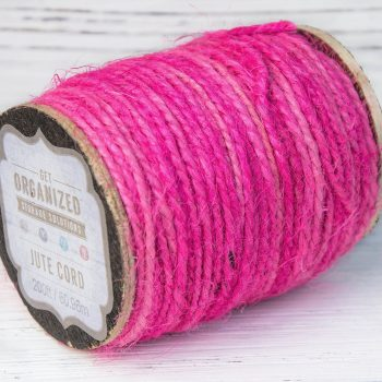 Pink Jute Twine,  2ply, 2mm, 200 feet  Roll, Craft Cord, Gift Wrapping, Dyed Jute