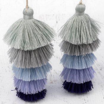 Purple  5 Layer Jewelry  Tassels, 1pc,  4 1/2 Inch,  Tassel Pendants, Large Cotton  Tassels