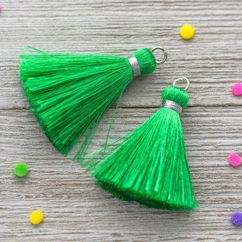 Silk  Tassels, 2pcs,  1 3/4 Inch,  Green   Tassels, Jewelry Tassels, Thai Silk, Silver wrap