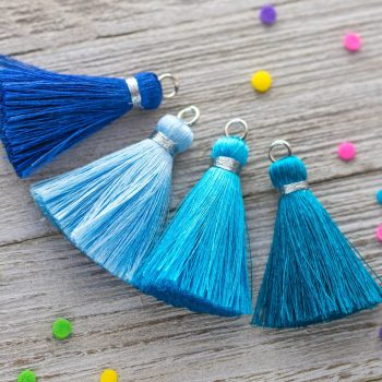 Silk  Tassels, 3pcs,  1 3/4 Inch, Jewelry Tassels,  Silver wrap, Shades of Blue