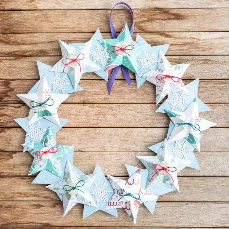 origami Christmas wreath, handmade Christmas decor