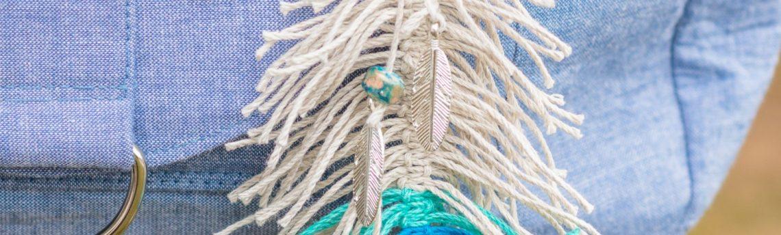 Macrame Feather Bag Decoration
