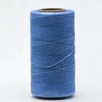 Cornflower Blue Flat Polyester Cord, 1mm  Waxed Cord, 250 Meter Roll,  Jewelry Cord