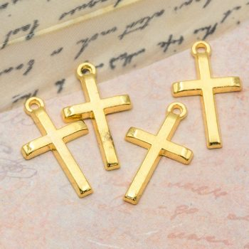 Cross Charm,  21mm, 20pcs,  Gold Cross Pendant, Holiday Charms, Jewelry Pendant -C1088