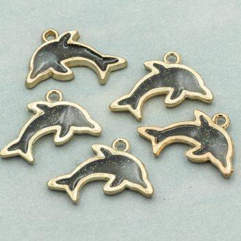 Dolphin Charms, 5pcs, Gold Tone Black  Enamel  Pendant -C1103