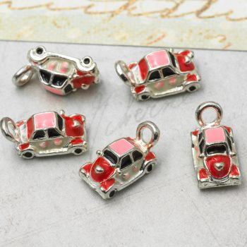 Enamel Car Charm, 5pcs, 13x7x6mm, silver pendant, Vintage Car  - C555