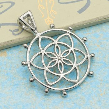 Flower Of Life Metal Pendant,  25mm,  5pcs, Symbol,  Round, Silver Tone -C1016