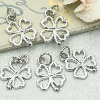 Four Leaf Clover  Charms,  Shamrock,  6pcs, 15mm, St Patricks Day  - C1044