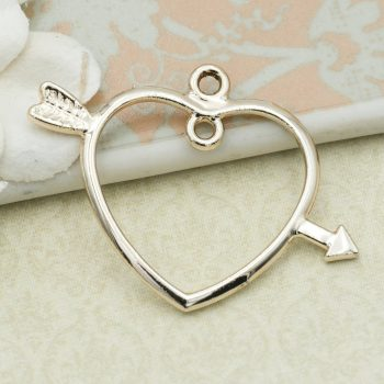 Light Gold Heart with Arrow Charms, 5pcs, Alloy metal, 22mm, Heart Pendant -C1112